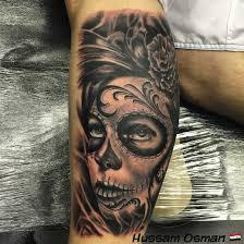 thigh sleeve tattoo designs day of the dead tattoo black and grey tattooist leg sleeve art