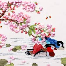 90 60 cm peach blossom painting mandarin duck love pattern cross