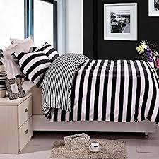 amazon com ntbay 3 pieces duvet cover set black and white stripe
