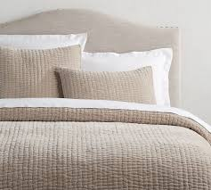 Taupe Coverlet Velvet Linen Pick Stitch Quilt U0026 Sham Simply Taupe Pottery Barn