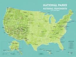 map us national parks us national parks national monuments map 18x24 poster best