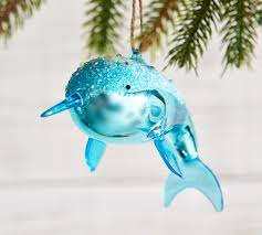 glass narwhal ornament pottery barn