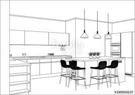 home interior vector kitchen design sketch 3d vector sketch modern kitchen design in