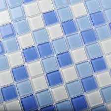 crystal glass tiles blue glass mosaic tile sea glass backsplash
