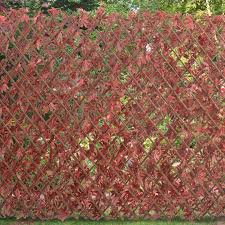 expanding fence trellis red maple leaf artificial leaves screen ebay