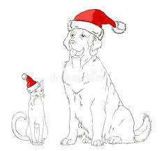 drawing of a dog and a cat in christmas hats stock vector image