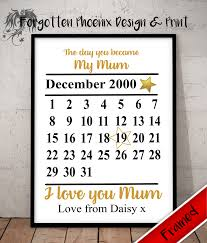 personalised mother mum mothers day gifts quote mummy the day you