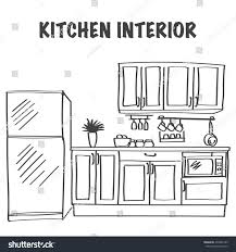 sketch modern kitchen interior cabinets kitchen stock vector