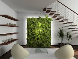 stunning indoor green wall design with abstract pattern design for