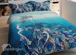 Peacock Feather Comforter Set Great Peacock Feather Print 4 Piece Cotton Duvet Cover Sets