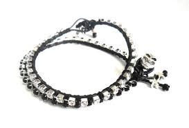 leather rhinestone bracelet images Friendship bracelet leather black rhinestone chain silk woven jpg