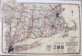 New England State Map by Road Map Massachusetts Connecticut Rhode Island Sold