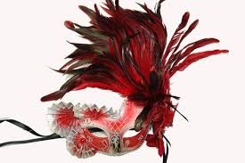 extra large feather fans and silver half mask with fans and feathers