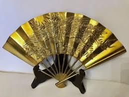 oriental fan wall hanging solid brass fan embossed flying dragon oriental wall hanging home
