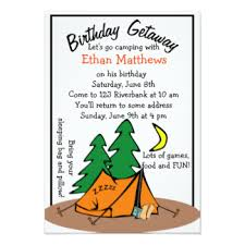 kids camping invitations u0026 announcements zazzle
