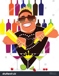 barman on cocktail party mix alcohol stock vector 502365241