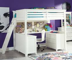 Full Size Bed With Desk Under Purple White Bedroom Design Features Full Loft Bed With Desk And
