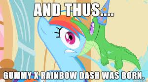 Mlp Rainbow Dash Meme - mlp rainbow dash x gummy meme by krazykari on deviantart