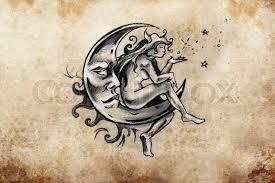 fairy sitting on the moon tattoo sketch handmade design over
