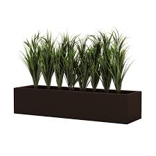 lush grass in low 8in h modern planter outdoor rated