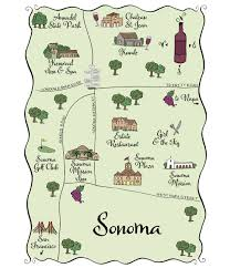 Sonoma California Map Maps And Totes U2013 Laura Hooper Calligraphy