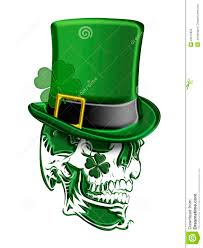 st patricks day green skull leprechaun hat stock photos image