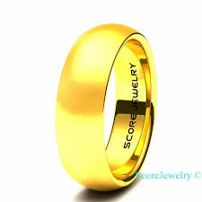 wedding band st louis 14k yellow gold plated tungsten wedding band style ring with domed