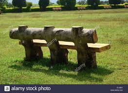 Wooden Park Bench Wooden Park Bench Hadshi Temple Pune Maharashtra India Stock