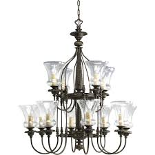 12 Bulb Chandelier Center Bowl Chandeliers Hanging Lights The Home Depot