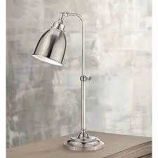 Brushed Steel Desk Lamp Brushed Steel Metal Adjustable Pole Pharmacy Table Lamp P9574