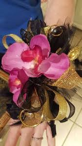 Prom Wrist Corsage Pink Black And White Homecoming Corsage Set From Hen House Designs