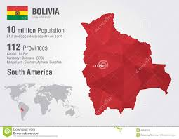 bolivia on world map bolivia world map with a pixel texture stock vector