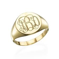 gold monogram ring signet ring in gold plating with engraved monogram mynamenecklace