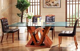 Glass Wood Dining Room Table Fashion Design Wood Dining Table With Glass Top Set Wholesale
