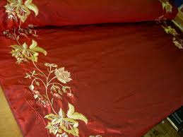 Designer Silk Drapery Home Decor Fabric Embroidery Borders Ruby - Discount designer home decor