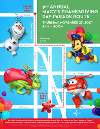 2017 macy s thanksgiving day parade lineup and route map