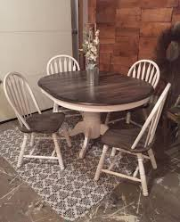 snow white milk paint with pitch black glaze effect dining set
