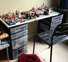 Home Depot Plastic Shelving by A Lego Desk Two Plastic Drawer Bins Fitted With A Top Made At