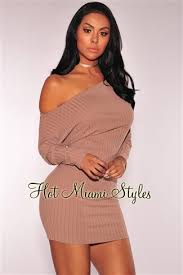 miami styles mocha ribbed shoulder sweater dress