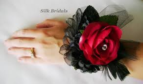 Red Rose Wrist Corsage Silk Red Black Roses Wrist Corsage Bridal Wedding Flowers Mothers