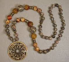 coin necklace vintage images Vintage chinese zodiac brass coin necklace leopard skin jasper jpg