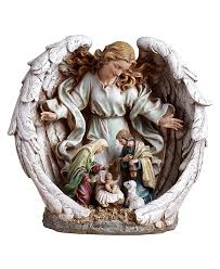 Home Interiors Nativity by Amazon Com Napco Guardian Angel With Holy Family Nativity Scene