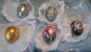 blown egg ornaments vintage waterford blown glass ftd santa toys holding globe