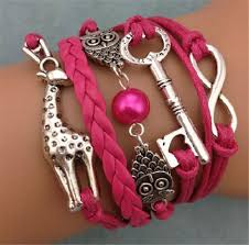 ebay charm bracelet silver images New infinity owl giraffe key friendship leather charm bracelet jpg