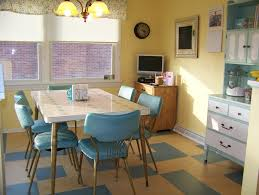 Vintage Blue Cabinets Pastel Blue Cabinets And Chairs Yellow Painted Wall Pendant Lights