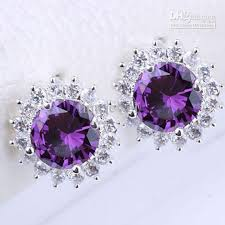 purple earrings 2018 womens studs silver earrings purple amethyst eh0119 yin