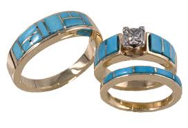 turquoise wedding rings danny s jewelry of arizona turquoise gold wedding