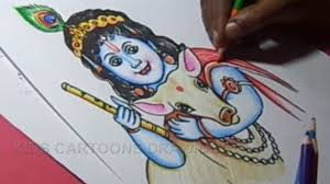 how to draw lord little krishna color drawing for kids step by
