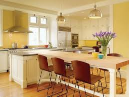 Kitchen Dining Room Ideas Photos Yellow Combo Kitchen Design With White Island And Dining Table