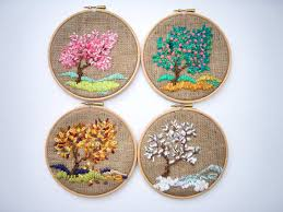 Four Seasons Embroidery Hoop Wall Art By Nerina Decorative Arts - Home decor textiles
